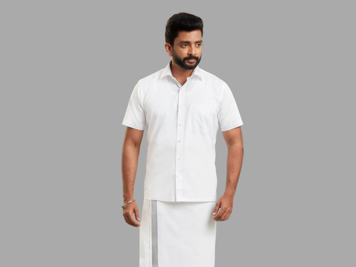 Dhoti and White Shirts